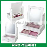 Wooden Mirrored Cosmetic Jewelry Box Case with Drawers and Acrylic Board Tabletop and Compartments for Jewellery Storage Display