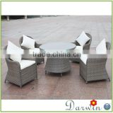 Modern rattan wicker coffee shop bali table and chairs recycled plastic outdoor furniture