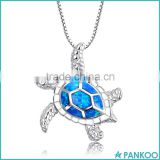 Wholesale Fashion Silver Jewelry ,925 Sterling Silver Created Blue Fire Opal Sea Turtle Penadnt Necklace