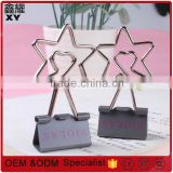 customer logo printing gray color silver wire star shape binder clips 19mm,25mm,32mm