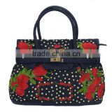 Embroidery pattern fashion cheap denim tote bag wholesale in China