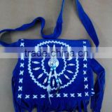 Handmade Western Style Real Suede Leather Beaded Ladies Shoulder Bag Fringed