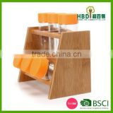 Eco-friendly wooden glass spice canister set with bamboo rack