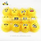 light up funny puffer emoji ball /flashing tpr puffer ball