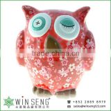 dealers coins owl shape Cherry blossoms flower patterns ceramic animal piggy bank for decoration