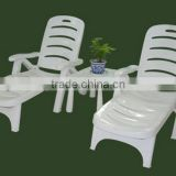 Outdoor Furniture PP Plastic Material Wood Made Beach Chair With Wheel For Swimming Pool