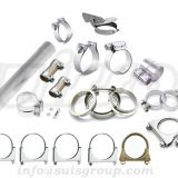 Automotive muffler clamps, saddle clamps, V-band flange assemblies, lap-joint band clamps, butt-joint band clamps, t-bol