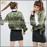 Ecoach 2017 wholesale New fashion custom design ruffled detailing green Baseball collar ladies plain satin bomber jacket
