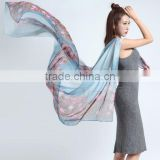 Floral fashion logo design digital printed women long scarf chinese satin silk scarf custom