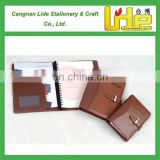 Top quality customized A4 / B5 / A5 / A6 PU leather notebook with metal button