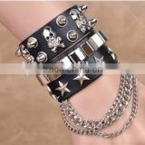 new style men broader real leather punk rhinestone many layers skull bracelets with chain