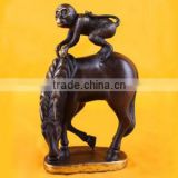 Bronze monkey on horse back lucky statue