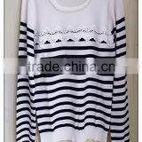 Fashion stripe knitting wear o-neck beaded lady's pullover lace stitching sweater top