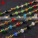 $4/meter by Trade Assurance- Crazy sales gemstone beaded rosary chain wire wrapped beads chain-Free Shipping