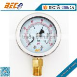 stainless steel case brass connector manometer gas air pressure gauge