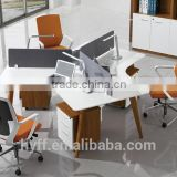 MDF laminated board wooden three people office partition screen HYP-60