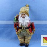 Luxurious Standing Santa Claus Christmas Figure in Red Holly Berry Coat with Corduroy Pants