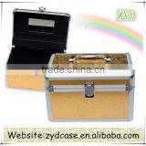 Fashion Portable Vanity Case Aluminium Cosmetic Gold Case