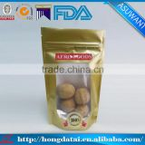 food grade high quality gold stand up pouch zipper top with clear window for snacks/chest nuts/peanuts
