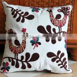 China stock seat cushion covers, hand 100%cotton canvas towel embroidery decorative covers