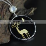 2016 Exquisite Reindeer and Bird 925 Sterling Silver Pendant for Women Fashion Necklace Jewelry