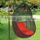 Outdoor Garden Modern design Multicolor PE rattan Hanging swing chair rattan furniture UGO-G035 black mesh style