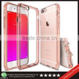 Samco Premium Crystal Phone Case for iPhone 6 Plus PC TPU Transparent Case with Attached Dust Cap