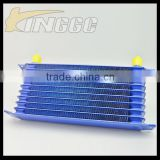 High Performance Blue Universal Car Transmission Oil Cooler, Aluminum 10 Rows Racing Oil Cooler