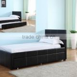 2016 Hot Selling PU Leather Queen Size Bed in Black Color with Drawer