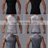 wholesale OEM service sports breathable vest wear fitness bodybuilding muscle gym tank tops men with black/grey color
