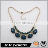 Fashion gold plated combine with big and small oval alloy inlay blue faceted resin stones earring and necklace Jewelry Sets