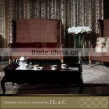JT03-04 Handcrafted Artistic Coffee Table with Petals Edge Diamond Pattern Extending High-end JL&C Luxury Home Furniture