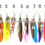 Hot Sale Natural Feather Colorful Round Wood Beads Earrings Feather Bead Earrings For Fashion Women
