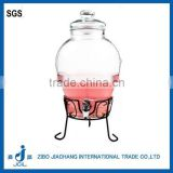 Plastic Plating Silver Tap and Glass lid glass pickle jar