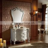 WTS16033 39 inch antique White handcrafted Solid wood bath furniture single sink bathroom vanity drawers