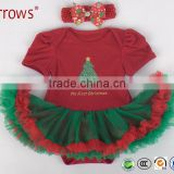 New Arrival Boutique Baby Petti Lace Romper Christmas Tree Pattern Romper and Dress