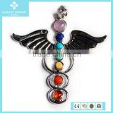 Foreign Trade Natural Crystal Agate Druzy Stone Alloy Angel Wing Pendant Jewelry