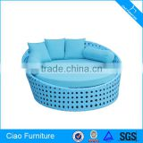 Outdoor Plastic Rattan Round Beach Sun Bed