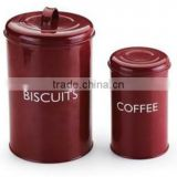 B047 Set Of 2 Iron Coffee/Biscuits Canister Food Storage Metal Cans With Lid