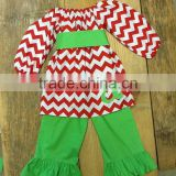 Newest fall clothing set baby girl boutique christmas outfits girls red chevron ruffle outfits