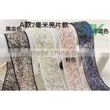 Wholesale 4cm wide lace fabric hard net yarn sequined ribbon diy bow hair wedding accessories hairpin lace trimming