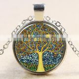 XP-TGN-LT-101 Wholesale Pendant Family Glass Colorful Time Gem Life Tree Charm Dome Cabochon Necklace For Ladies