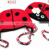 Wholesale Handmade Cotton Animal Hat Children Girl Ladybug Hat ,Baby Bonnet Ear Flap Animal Hat