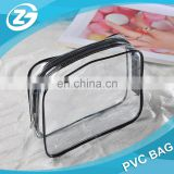 Hot Promotion Sale Black Piping Transparent Stand up Zipper PVC Cosmetic Toilet Towel Bag for Beach Traveling