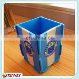 cheap soft pvc material pen container, mosaic plastic pencil vase with logo,pvc brush pot