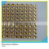 Plastic Gold Rhinestone Mesh 10 Rows 5 Yards Sew on Rhinestone Plastic Banding Ribbon Roll
