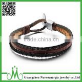 Men's Bracelet Leather Rope Bracelet Bangle for Men and Women Black Fabric Genuine Leather Wristband Bangle With Alloy Clasp