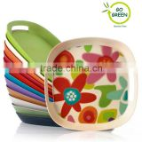 flower decal egg tray of bamboo fibre for sevring, kitchen cutlery bamboo tray for party