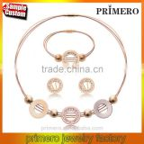 Stainless Steel Gold Plated Circle Necklace Earrings Bracelet Bridal Costume Jewelry Sets