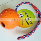rubber ball-Everfriend orange 6.5cm spikey natural durable rubber pet toys with rope